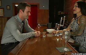 Busty shemale bartender anal fucks client