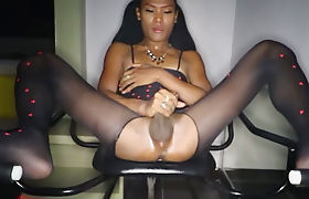 Bareback POV fucking with a ladyboy in a sex chair