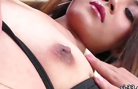 Adorable asian tgirl Nonny tight asshole gets reamed