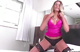 TS Bella Trix handles two big cock fucking her butthole