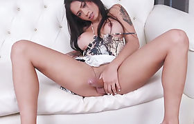 Busty latina shemale goddes solo masturbation session