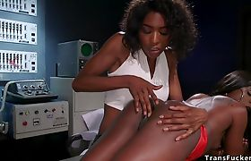 Shemale scientist anal fucks sex robot