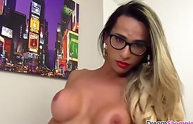 Blonde shemale enjoying solo masturbation time with dildo