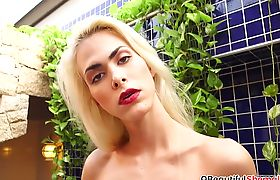 Big boobs blonde shemale blowing black dick and rides BBC