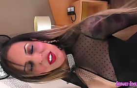 Big Titted Ts Bitch Jerking Her Cock