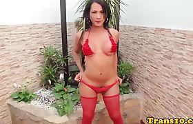 Columbian tgirl fingers ass after modeling