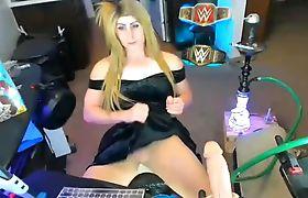 Sexy trans girl cun on her black dress