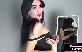 Sexy amateur femboi trap gets her dick out
