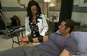 Handsome guy gets anal from TS nurse