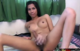 Feminine ladyboy with big lips cumshots all over her belly