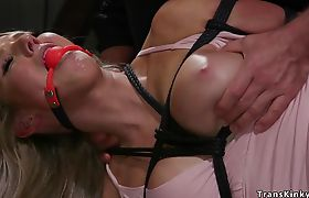 Busty blonde Ts lady fucked in bondage