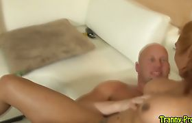 Tgirl hooker gets facial after ass fuck