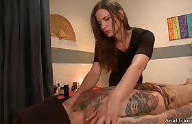 Shemale masseuse anal fucks tattooed guy