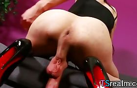 TS Ashley Stacks Strokes Her Big Cock