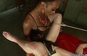 Big black cock shemale anal fucks sub