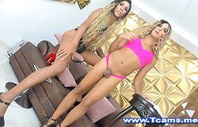 Tgirls in High Heels Teasing on Cam