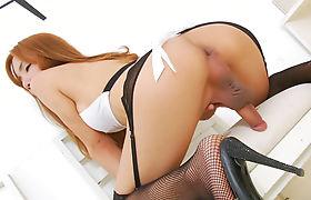 Ladyboy showing off ass and masturbates her hard cock