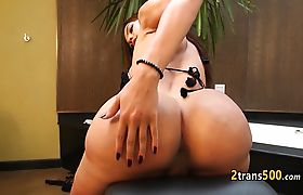 Latina tgirl slut nailed with black cock