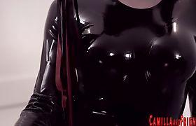 Latex tgirl pounding slaves ass