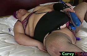 SSBBW tgirl pleasures herself with toys
