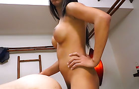 Big boobs Asian ladyboy beauty fucks a guy in the ass