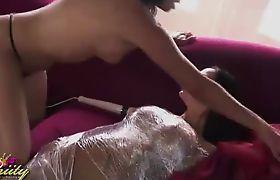 Seductive transsexual Vaniity playing with Angelina Valentine
