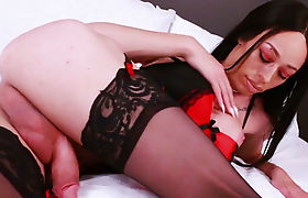 Latina shemale goddes playing with her hard tanned cock