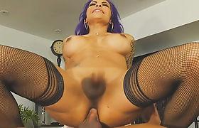 Transgendered boss TS Foxxy fucked in her office