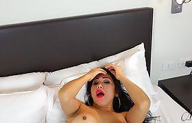 Big titty tranny Nina wakes up horny