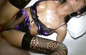 Ladyboy in sexy lingerie and stockings bareback fucked