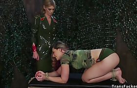 Tranny ties up and fucks military babe