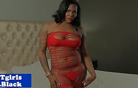 Bigass nubian shemale strokes her black cock