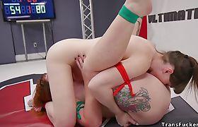 Tranny fucks redhead wrestler