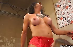 Huge tits shemale anal fucks voyeur guy