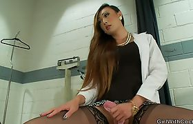 Shemale fucks patient and busty nurse