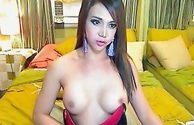 Busty Asian Shemale Cam Masturbation