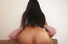 Skinny Asian shemale with big tits posed and anal sex