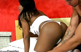 Dark skin shedoll in white stockings goes after my big dick