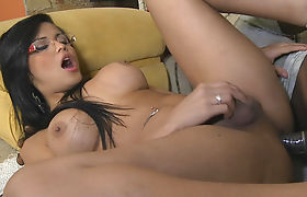 Lustful shemale gets her asshole rammed by her man meat