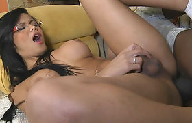Spicy hot latin shemale gets ass reamed hard and deep