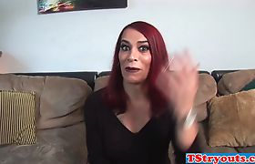 Redheaded trans chick jerks off her dick