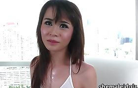 Ladyboy Natty gets jism together with a hunk in a hardcore sex