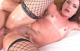 Small boobs shemale pounded in her ass bareback in bed