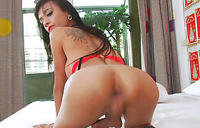 Trans Girl Tan Loves To Play With Her Cock